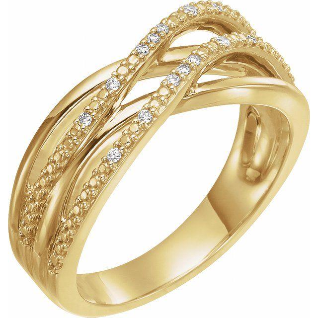14K Yellow .06 CTW Diamond Criss-Cross Ring