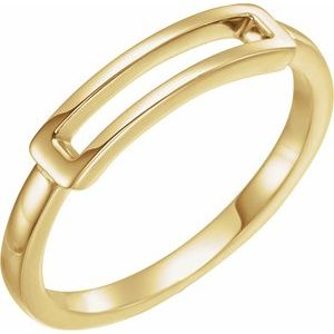 14K Yellow Open Bar Ring