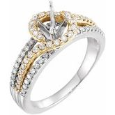 Bypass Halo-Style Engagement Ring or Band