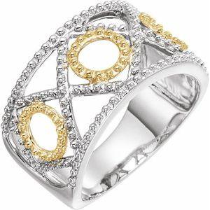 14K White & Yellow Beaded Geometric Ring