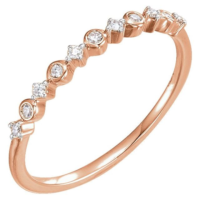 14K Rose 1/10 CTW Diamond Ring Size 7