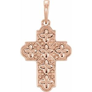 14K Rose Ornate Floral-Inspired Cross Pendant