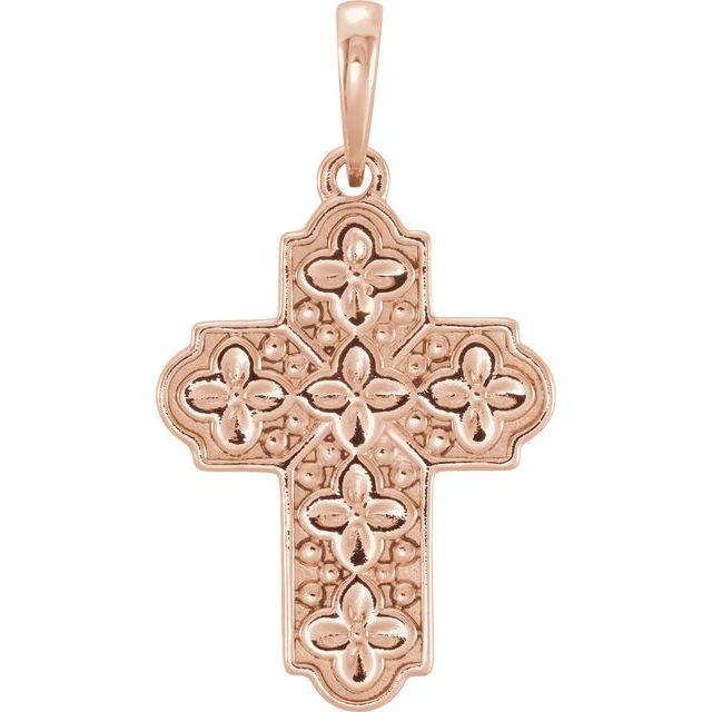 14K Rose Ornate Floral-Inspired Cross Pendant
