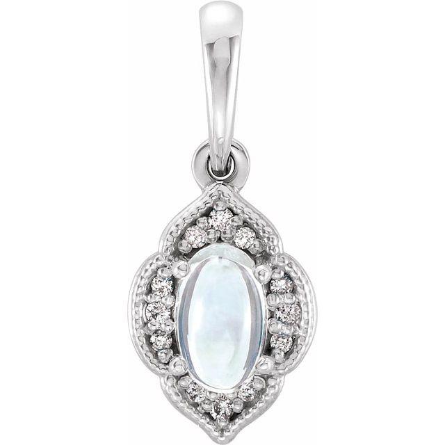 14K White Rainbow Moonstone & .03 CTW Diamond Clover Pendant