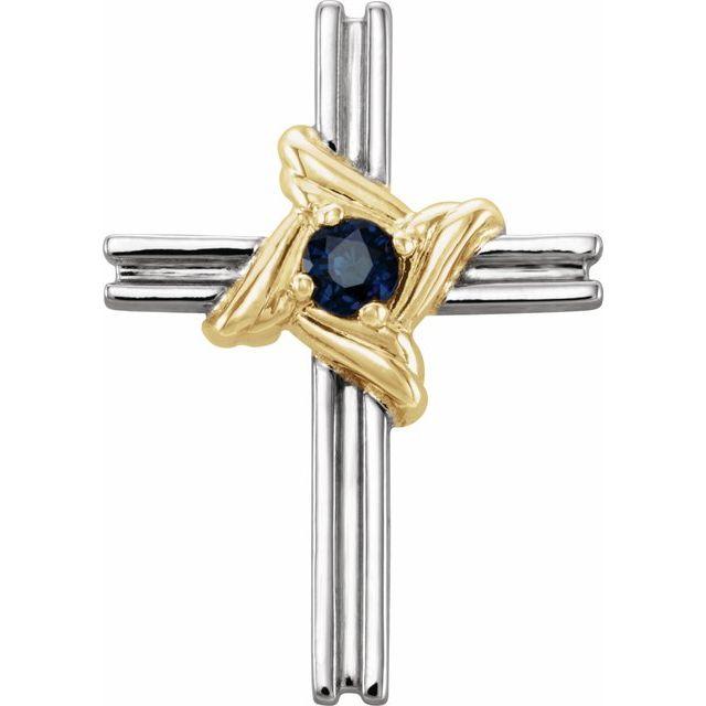 14K White & Yellow Blue Sapphire Cross Pendant