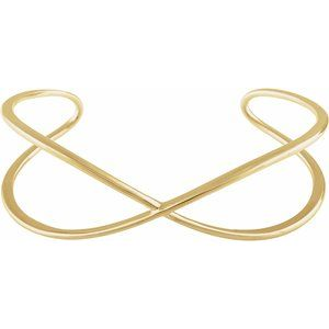 "14K Yellow Criss-Cross Cuff 7"" Bracelet"