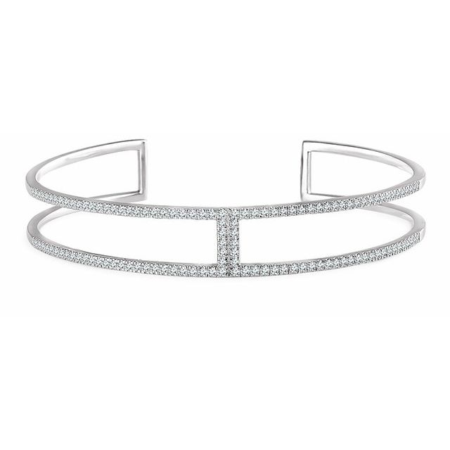 "14K White 3/4 CTW Diamond Cuff 6"" Bracelet"