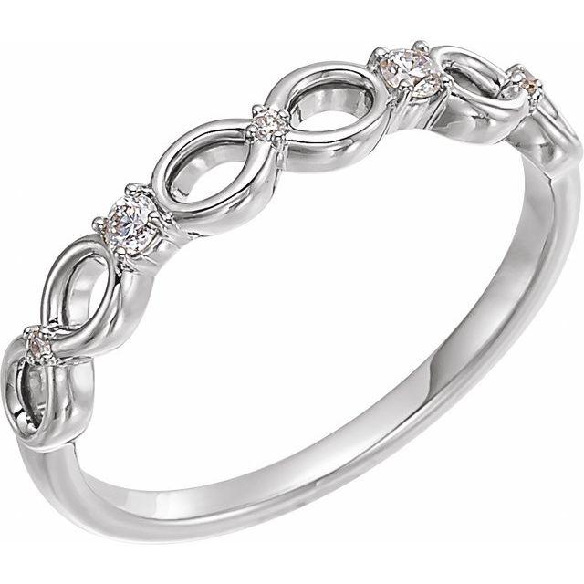 14K White .08 CTW Diamond Infinity-Inspired Ring