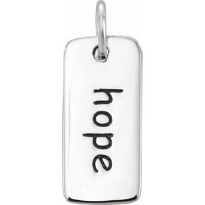 """Sterling Silver """"Hope"""" Tag Pendant"""