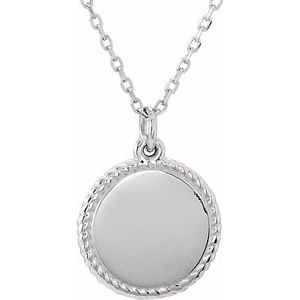 """14K White Engravable Round 16-18"""" Rope Necklace"""