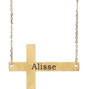 "14K Yellow Sideways Cross 16-18"" Necklace"
