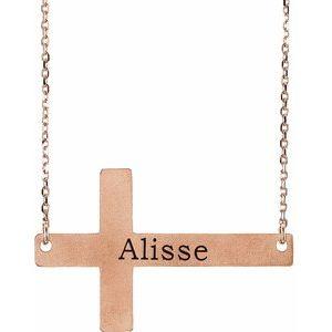 """14K Rose Sideways Cross 16-18"""" Necklace"""