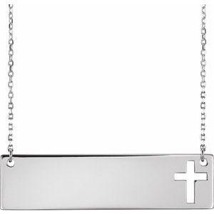 "14K White Pierced Cross Bar 16-18"" Necklace"