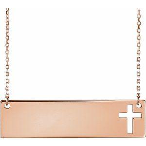 "14K Rose Pierced Cross Bar 16-18"" Necklace"