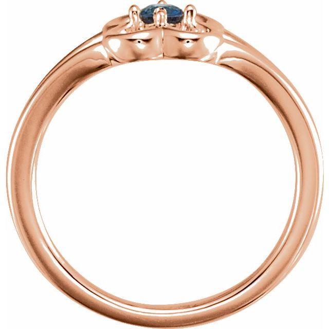 14K Rose Blue Sapphire Youth Flower Ring