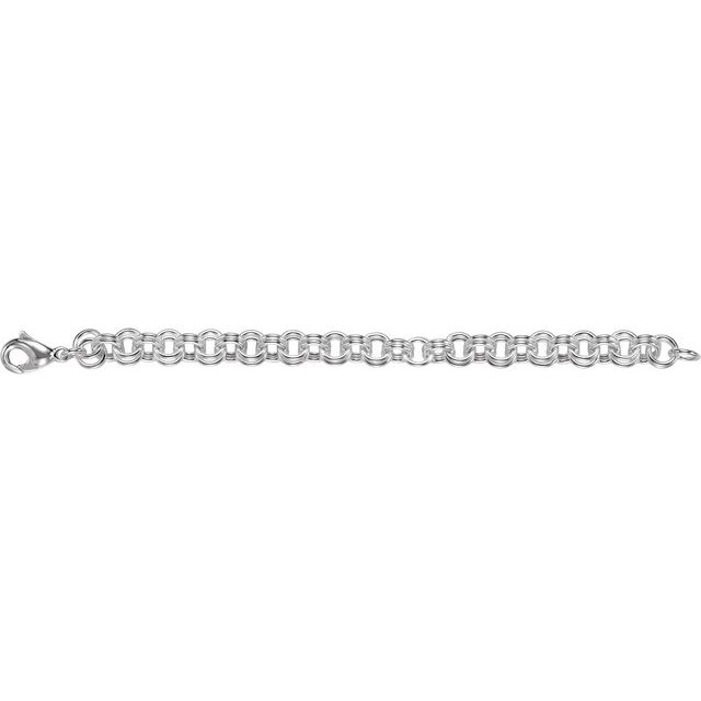 Sterling Silver 9 mm Double Link Charm 7 1/2