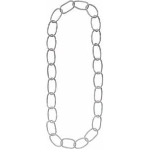 "Sterling Silver 21 mm Mesh Link 35"" Chain"
