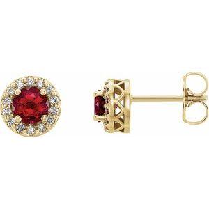 14K Yellow Chatham® Lab-Created Ruby & .08 CTW Diamond Earrings