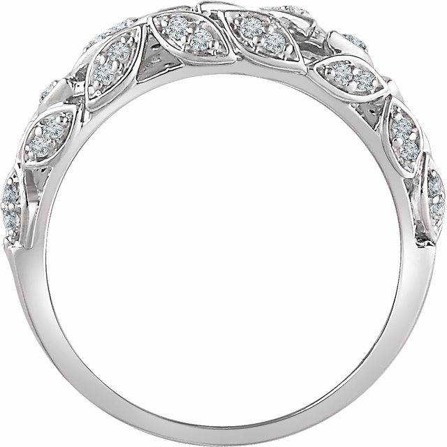 14K White 1/2 CTW Diamond Leaf Ring