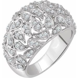 14K White 3/4 CTW Diamond Leaf Ring