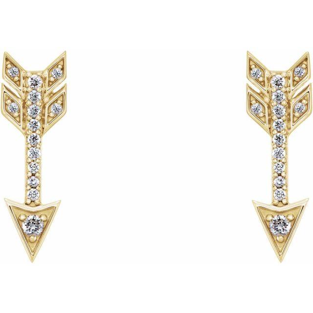 14K Yellow 1/6 CTW Diamond Arrow Earrings