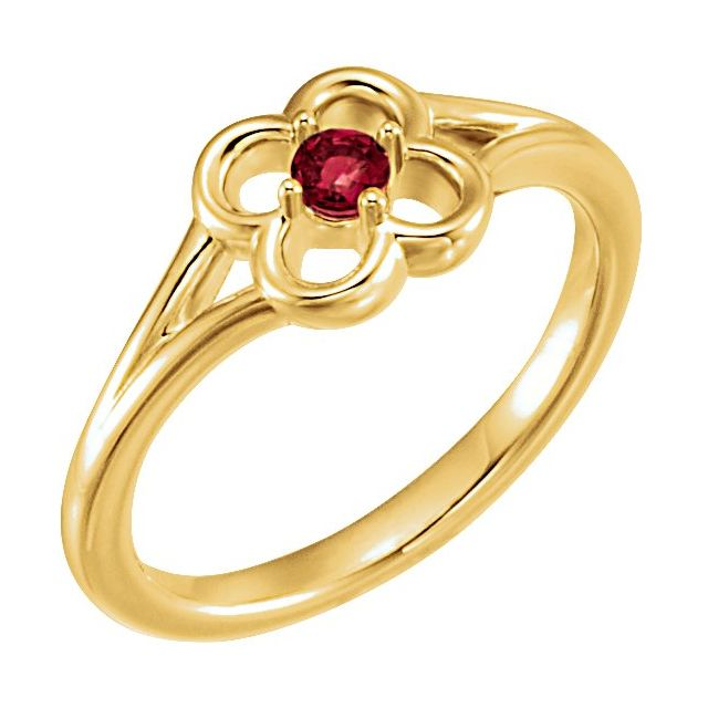 14K Yellow Mozambique Garnet Youth Flower Ring