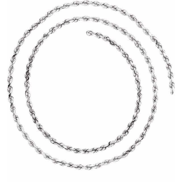 14K White 2.5 mm Diamond Cut Rope Chain Bulk by the Inch