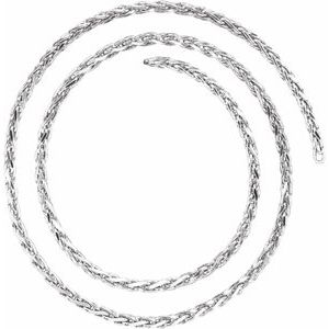 14K White 2.75 mm Diamond Cut Wheat Chain by the Inch
