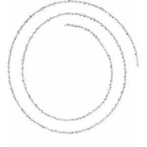 14K White 1.25 mm Diamond-Cut Singapore Chain by the Inch