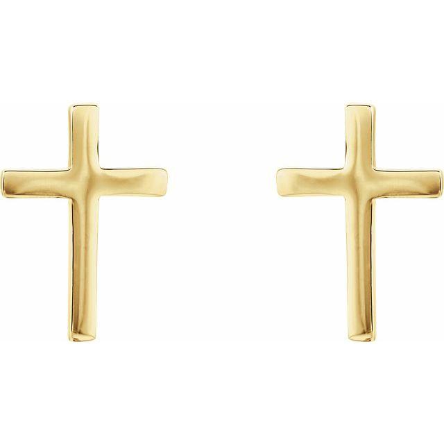 14K Yellow 10 mm Cross Earrings