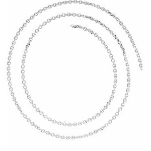 14K White 1.75 mm Solid Diamond-Cut Cable Chain by the Inch
