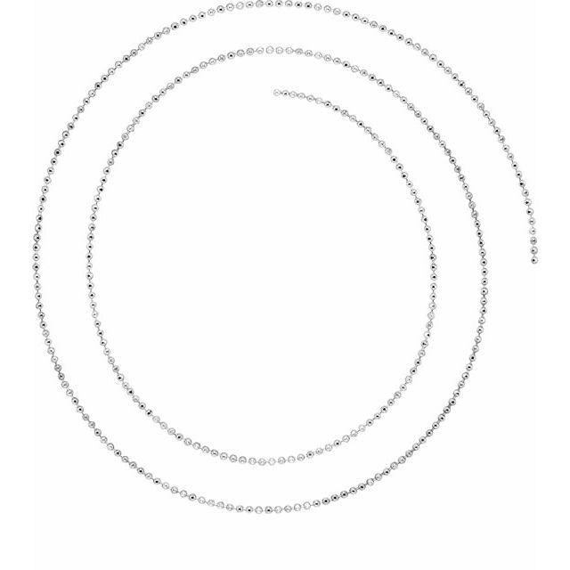 14K White 1 mm Diamond-Cut Bead Chain by the Inch