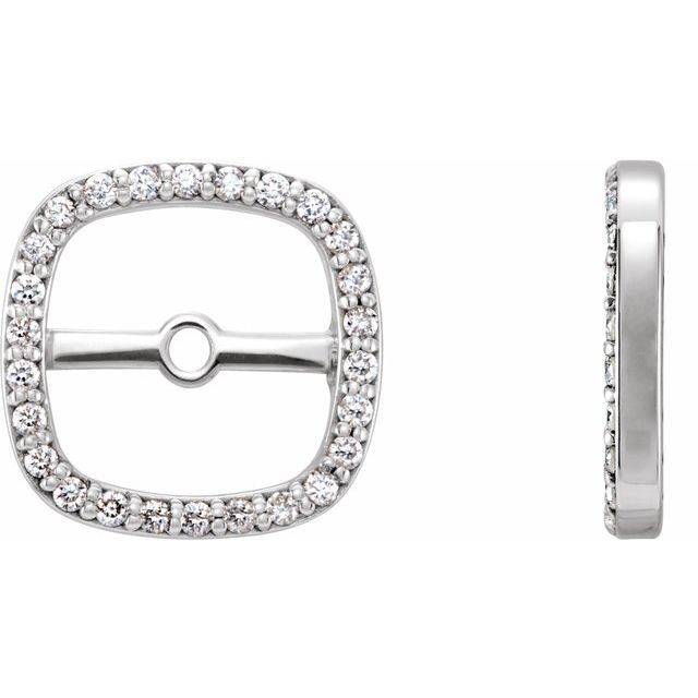 14K White .08 CTW Diamond Halo-Style Earring Jackets