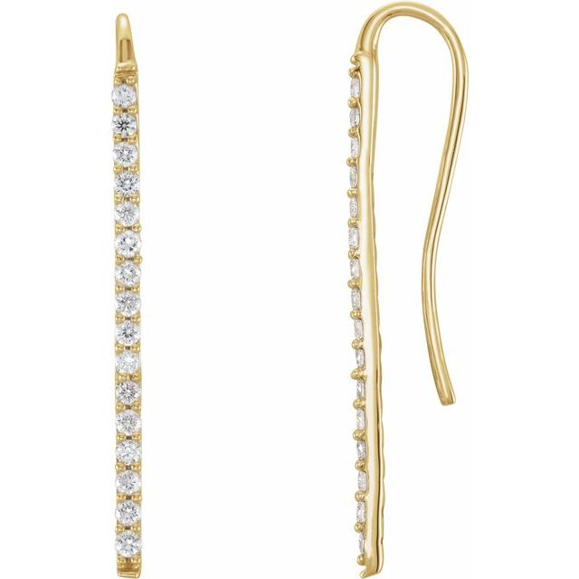 14K Yellow 1/3 CTW Diamond Bar Earrings