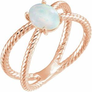 14K Rose 8x6 mm Opal Criss-Cross Rope Ring