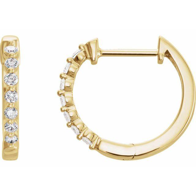 14K Yellow 1/5 CTW Natural Diamond Hoop Earrings