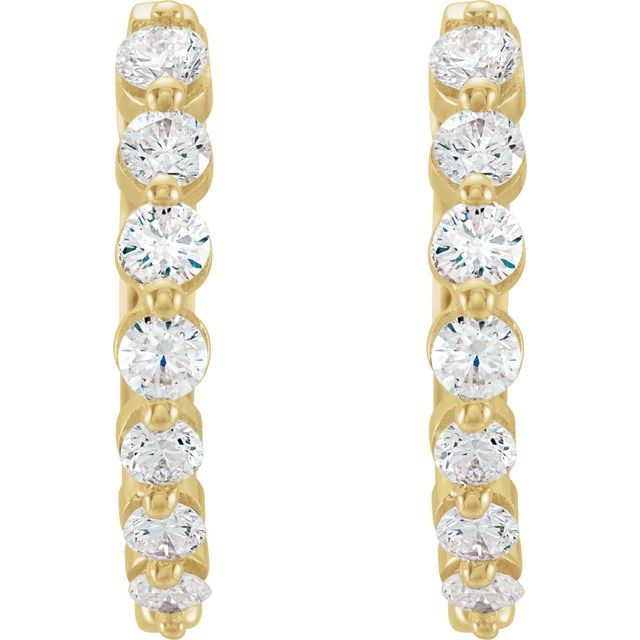 14K Yellow 1/2 CTW Diamond 15.25 mm Hoop Earrings