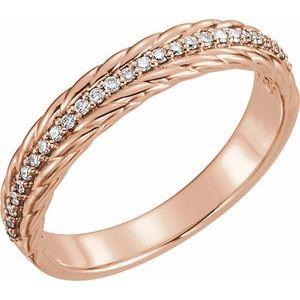 14K Rose 1/6 CTW Diamond Rope Ring