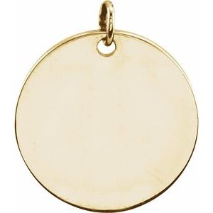 18K Yellow Vermeil 9.5 mm Engravable Round Disc Pendant