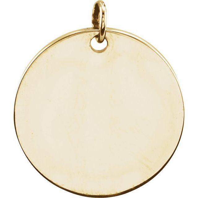 14K Yellow 9.5 mm Round Disc Pendant