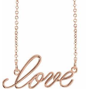 """14K Rose """"Love"""" 16.5"""" Necklace"""