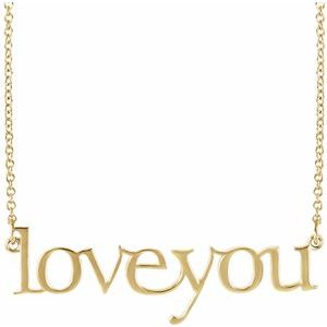 """14K Yellow Love You 16 1/2"""" Necklace"""