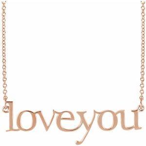 "14K Rose Love You 16 1/2"" Necklace"