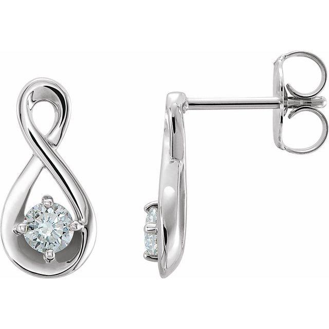 14K White 1/5 CTW Diamond Infinity-Inspired Earrings