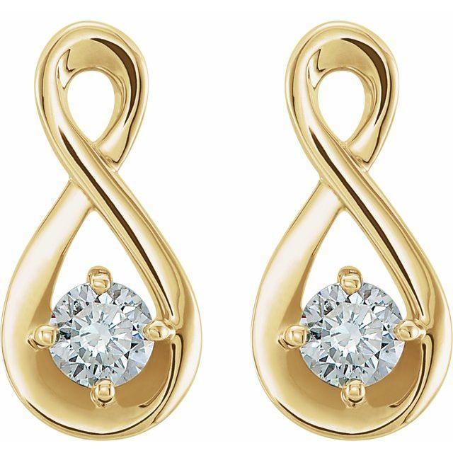 14K Yellow 1/5 CTW Diamond Infinity-Inspired Earrings