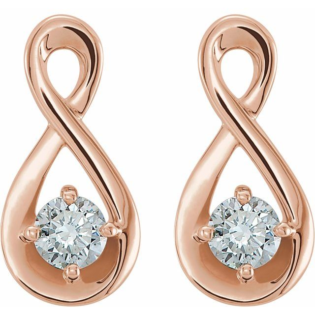 14K Rose 1/5 CTW Diamond Infinity-Inspired Earrings
