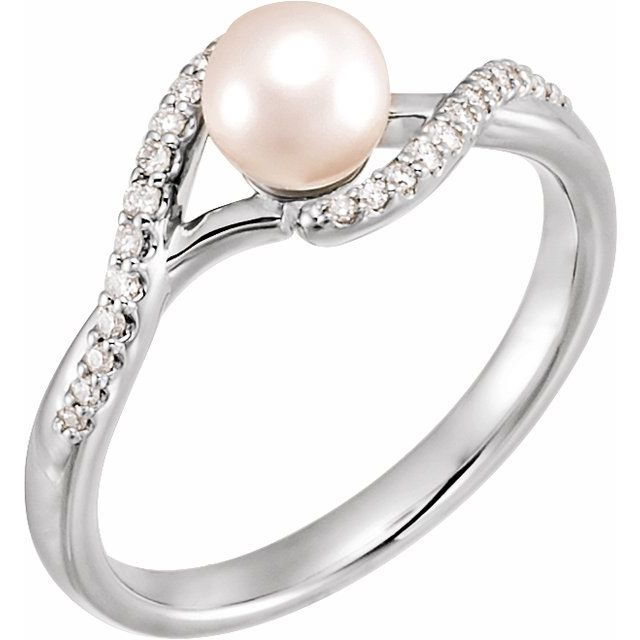 14K White Cultured White Freshwater Pearl & 1/10 CTW Natural Diamond Ring
