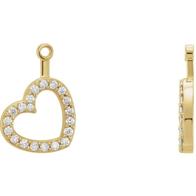 14K Yellow 1/5 CTW Diamond Heart Earring Jackets