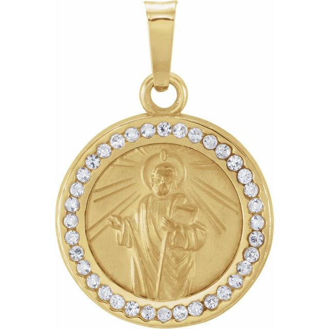 14K Yellow St. Jude Medal with Created White Sapphires
