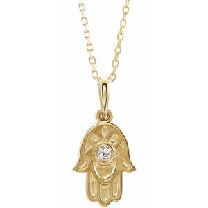 "14K Yellow .03 CTW Diamond Hamsa 16-18"" Necklace"